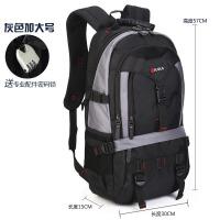 男士双肩包旅行包大容量登山包户外迷彩背包电脑包包潮男书包lk 灰色加大号
