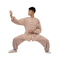 太极服 男棉麻长袖亚麻裤古典风中老年太极拳练功服装女秋季