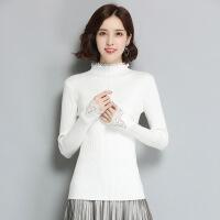 秋冬新款韩版纯色蕾丝打底毛衣女高领长袖修身百搭女士内搭针织衫