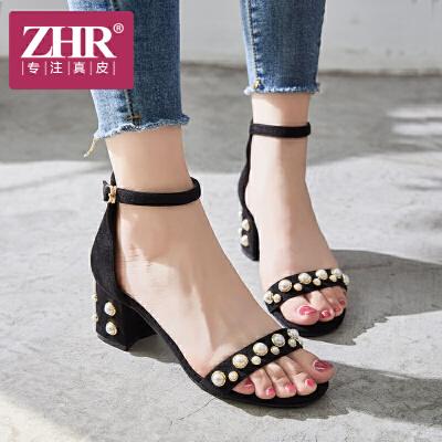 ZHR凉鞋女高跟简约时尚粗跟一字扣带鞋韩版百搭露趾包跟鞋2018夏新品