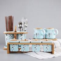 蓝釉创意日式调味罐陶瓷调味盒调味瓶盒厨房用品收纳罐竹木架