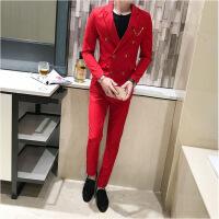 夜店潮男修身型韩版夏季小西装外套上衣青年发型师帅气西服套 红色