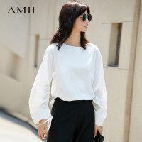 【预估价127元】Amii[极简主义]宽松绑带衬衫秋装洋气新款长袖纯色袖口系带衬衫