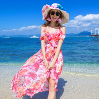 夏波西米亚长裙雪纺连衣裙显瘦开叉露肩不规则前短后长海边沙滩裙 玫瑰花色