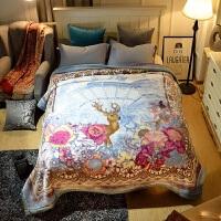 拉舍尔毛毯被子双层加厚云毯超柔保暖冬季结婚珊瑚绒双人床单 浅蓝色 麋鹿之途【9斤】 200cmx230cm