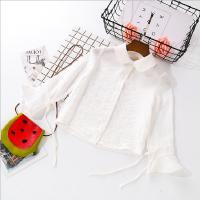 女童衬衫2018春季新款中小童清新喇叭袖娃娃领衬衣女纯棉纱布上衣