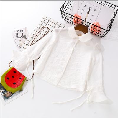 女童衬衫2018春季新款中小童清新喇叭袖娃娃领衬衣女纯棉纱布上衣 发货周期:一般在付款后2-90天左右发货,具体发货时间请以与客服协商的时间为准