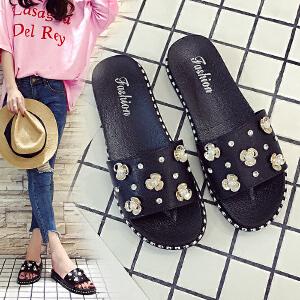 2018新款韩版时尚沙滩厚底一字拖鞋夏季新款女士珍珠花朵凉鞋拖平跟凉拖鞋