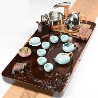 全自动陶瓷紫砂功夫茶具套装家用整套实木茶盘茶道电磁炉现代简约 37件