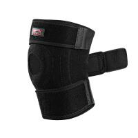 护膝运动男篮球跑步女弹簧护具户外骑行足羽毛球登山健身装备 黑色.