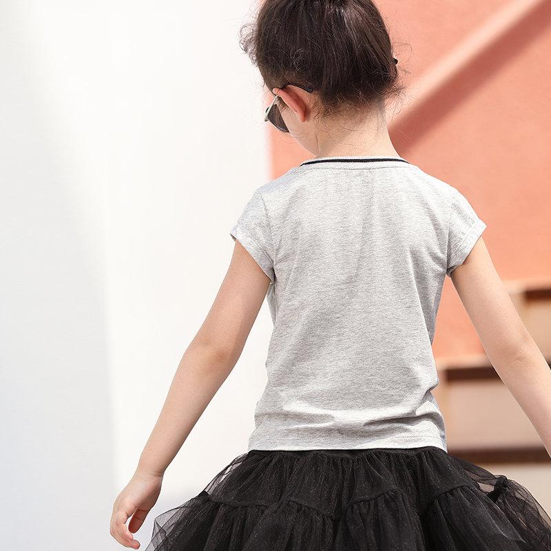 【尾品汇 5折直降】amii女中大儿童T恤2018夏装新款韩版时尚撞色上衣休闲简约初中生