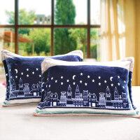 冬季珊瑚绒 枕套 法莱绒枕芯套 一对 加厚保暖枕头套单人4874枕套 48cmX74cm