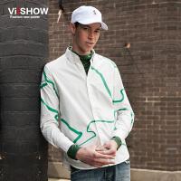 VIISHOW秋装新款长袖衬衫男纯棉方领衬衣男士