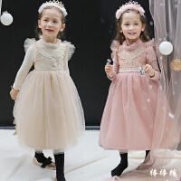 童装女童连衣裙冬季新款韩版公主裙加绒加厚中长款礼服裙儿童裙子