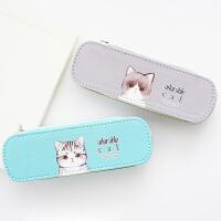 包邮 笔袋韩国简约女生小清新可爱创意大容量萌猫帆布文具盒女小学生