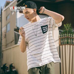 VIISHOW2018新款短袖T恤夏季条纹半袖体恤男士潮流休闲上衣帅气