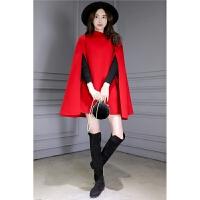 呢大衣女加厚2018新款女装秋冬中长款修身毛呢外套女红色英伦复古斗篷呢子大衣