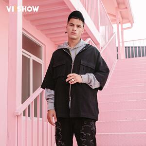 VIISHOW2018春季新款衬衫男 短款连帽中袖学生宽松潮牌上衣帅气