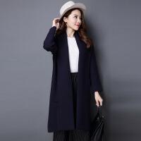 双面加厚针织大衣 秋冬新品女士羊毛毛衣外套 欧美长款大衣
