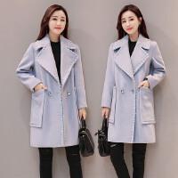 2018春新款韩版女装呢大衣长袖双排扣上衣大码中长款毛呢外套