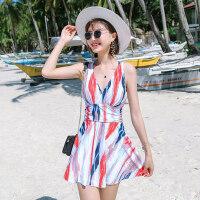 新款游泳衣女 保守连体裙式平角性感遮肚显瘦温泉学生韩国泳装