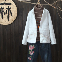 中国风复古刺绣羽绒棉短外套淑女简约宽松盘扣棉衣保暖小棉袄 均码