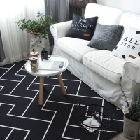 潮牌地垫卧室加厚法莱绒地毯斑马纹客厅茶几地垫飘窗垫床边毯 乳白色 黑色Z线条
