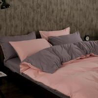 简约纯色床上用品 1.5m棉磨毛床单被套4三件套1.8米棉四件套 1.5米床 被套180*220床笠150*200