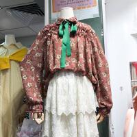 韩国ulzzang2018春装新款o木耳边宽松时尚长袖花色雪纺衫女上衣潮