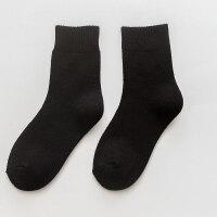 5双装毛圈袜子女秋冬季加厚加绒棉袜中筒保暖羊毛巾袜孕妇月子袜 黑色 5双 均码