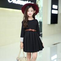 2017新款公主裙童装 女童连衣裙春秋装中大童韩版长袖儿童裙子 黑 色