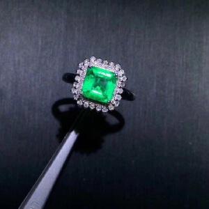 天然哥伦比亚祖母绿戒指,主石尺寸:3.5x3.5mm!精工镶嵌,四大宝石之一