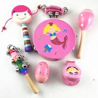 儿童手摇铃 木制串铃鼓 婴儿铃铛玩具 拨浪鼓 沙球0-3-6-12月宝宝