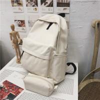 双肩包男小款帆布背包大学高中学生书包纯色韩版校园 女包 米白色 收藏礼品