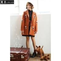韩国小熊印花夹棉毛呢大衣外套+英伦格子中长款衬衫裙子时尚套装