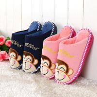 棉拖鞋冬季居家居情侣包跟棉拖鞋防滑厚底毛毛拖鞋地板保暖拖鞋男女