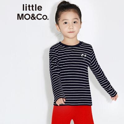 【折后价:131.6】littlemoco男女童小怪兽绣花图案条纹长袖T恤KA173TEE207 复古条纹 小怪兽绣花图案