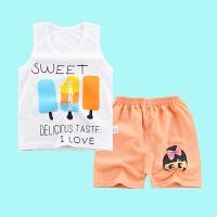17夏季儿童背心套装 纯棉男女童装无袖宝宝中小童短裤两件套可爱小动物童装