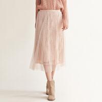 活动到手价192丨红袖/HOPESHOW蕾丝网纱钉珠百褶半身裙