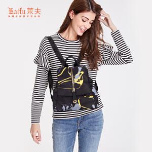 【可使用礼品卡】莱夫双肩包女2018新款韩版潮时尚百搭个性牛津帆布旅行个性小背包