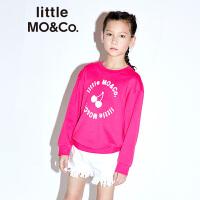 littlemoco儿童卫衣无衬线字体樱桃图案套头长袖卫衣圆领卫衣