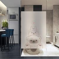 简约小白熊磨砂透卫生间移门贴窗户浴室厕所玻璃贴纸贴膜 纯磨砂80cm宽/2米价 无图
