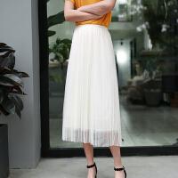 夏季女雪纺半身长裙子 黑色透视网纱半裙性感高腰开叉裙