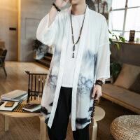 中式唐装改良汉服中国风男装居士披风外套民族风古装道袍衣夏长衫