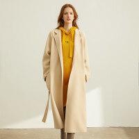 【折后价:875元/再叠券】Amii赫本风红色纯羊毛双面呢毛呢大衣女年新款中长款呢子外套
