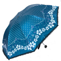 天堂伞 33138E春色宜人 黑涤彩胶折叠伞遮阳伞晴雨伞