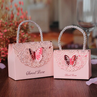 【支持礼品卡】创意欧式喜糖盒子结婚纸盒手提糖果包装个性婚庆糖盒 10个装q5r