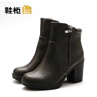 达芙妮集团/鞋柜秋冬短靴女气质圆头侧拉链中粗跟女短靴-1