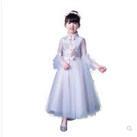 春季公主裙女童中国风长袖儿童小主持人演出服花童婚纱晚礼服