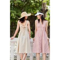 太平鸟吊带连衣裙女夏小清新2019新款粉色格子裙法式仙女裙桔梗裙